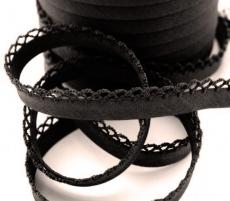 Schrägband uni mit Häkelborte - schwarz