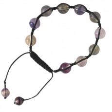 Fluorit Shambala Armband 10mm Kugeln, variable Länge