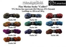 Lanartus Fine Merino Socks handgefärbt Colibri