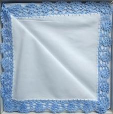 Spitzentaschentücher weiß, Rand blau 2er Pk.