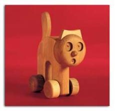 Treibholz Spieltier Katze aus natürlichem Buchenholz -groß