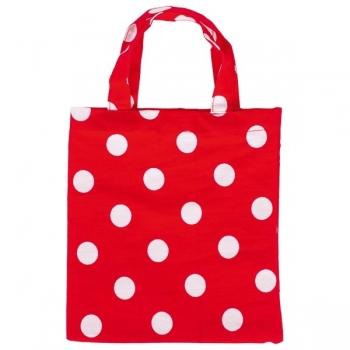 Baumwollbeutel mit Henkel - Punkte rot/weiß- waschbare Geschenkverpackung