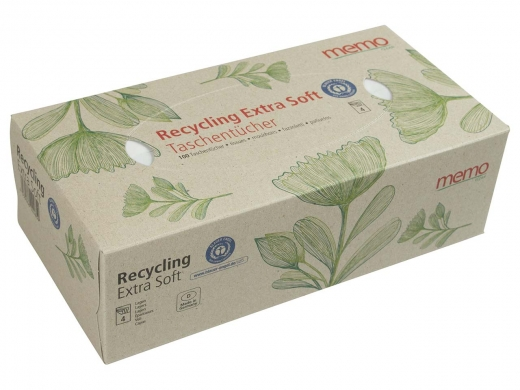 memo Taschentücher Recycling Extra Soft in Box aus Pappe 100 St.