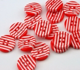 Knopf Stripes rot/weiß 15mm