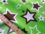 PUL Stoff bedruckt, Zuschnitt 50x45 cm - Sterne grün