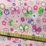 PUL Stoff bedruckt, Zuschnitt 50x45 cm - Schmetterlinge rosa