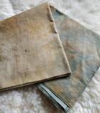Baumwollstoff pflanzengefärbt - Ecoprint /Indigo / Walnuss - Stoffcoupon 104x91cm