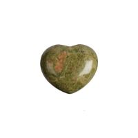 Unakit (Epidot) Steinherz klein (ca. 2,8x2,8cm - Taschenherz)